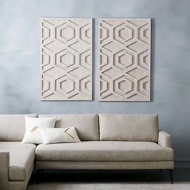 Graphic Wood Wall Art Whitewashed Hexagon In 2020 Wood Wall Art Tile Wall Art Modern Wall Art