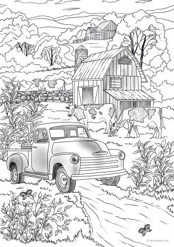 Country Car Farm Coloring Pages Printable Adult Coloring Pages