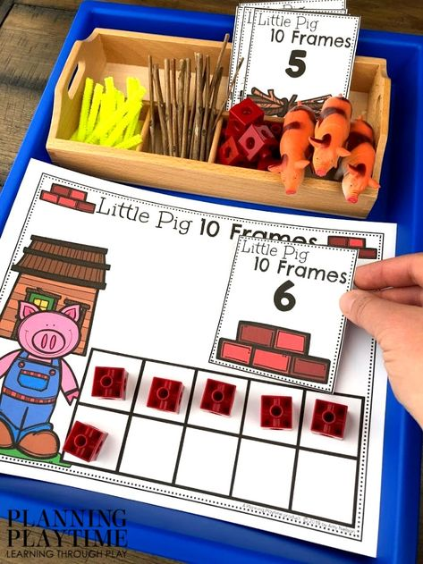 Preschool Math Activity 10 Frames , Fairy Tale Theme - 3 Little Pigs Fairy Tale Activities, 3 Little Pigs Activities, Retelling Activities, Fairy Tale Theme, Fairy Tales Unit, Kids Play Spaces, Traditional Tales, Barnyard Party, Three Little Pigs