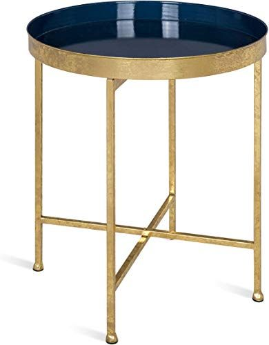 Beautiful Kate And Laurel Celia 18 Inch Round Metal Foldable Tray Accent Table Navy Blue And Gold Living Room Blue And Gold Bedroom Gold Living Room Furniture