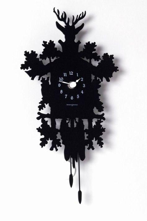 Coucou Mignon pendule en métal découpé noir - Horloges et pendules design - Diamantini & Domeniconi - Réf. 11050031