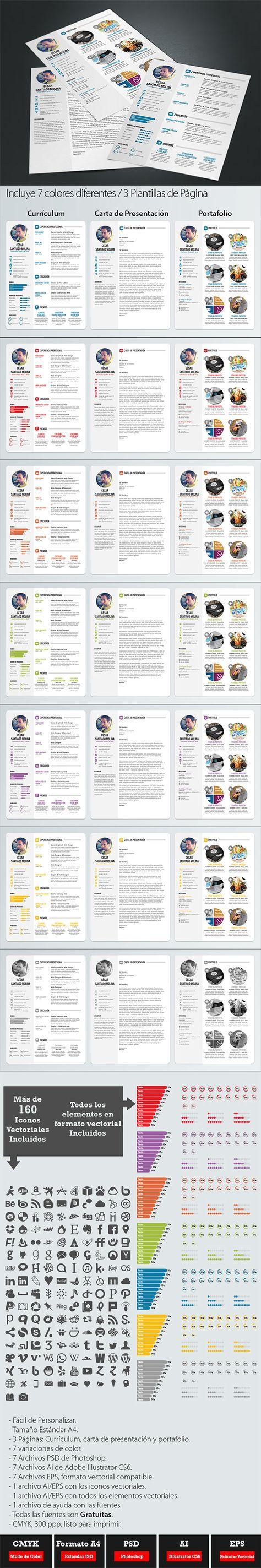 Plantillas de Currículum Vitae: Currículum Vitae Profesional en 7 Colores