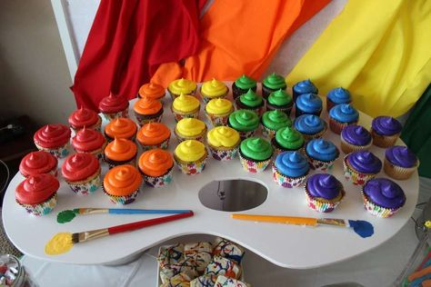 Rainbow cupcakes at an art birthday party! See more party ideas at CatchMyParty.