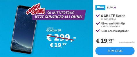 4gb Lte Blau Allnet Flat Xl Ab 19 99 Inkl Smartphone Ab 1 Blau Handyvertrag Und Samsung