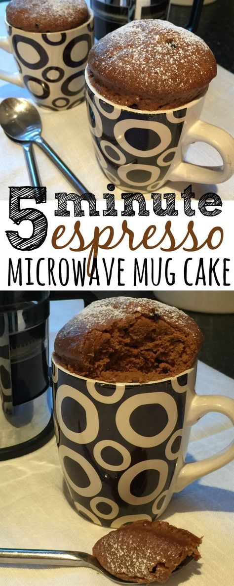 This is a simple and quick recipe for an espresso microwave mug cake which you can be eating it in less than five minutes, with half the washing up of a normal oven-baked cake.