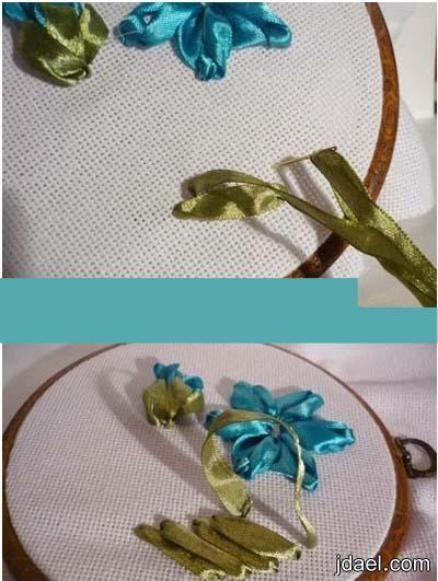 تعليم تطريز الحاشيه بالشرائط الساتان على قماش الايتامين Decor Hoop Wreath Wreaths