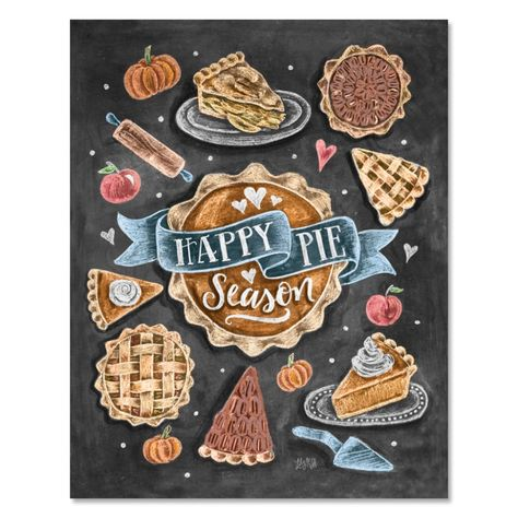 Lily & Val – Happy Pie Season - Pie Print - Fall Recipe Print - Chalkboard Art - Fall Kitchen - Autumn Chalkboard Decor