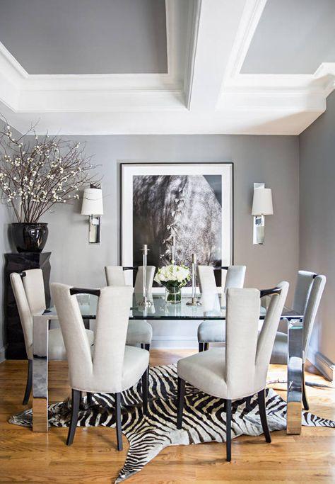 ryan korban nyc apt dining room gray silver chrome zebra rug horse rh pinterest com