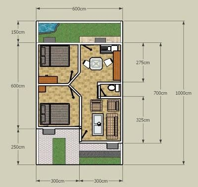 desain rumah 2 lantai tanah 60m2 - soal tematik