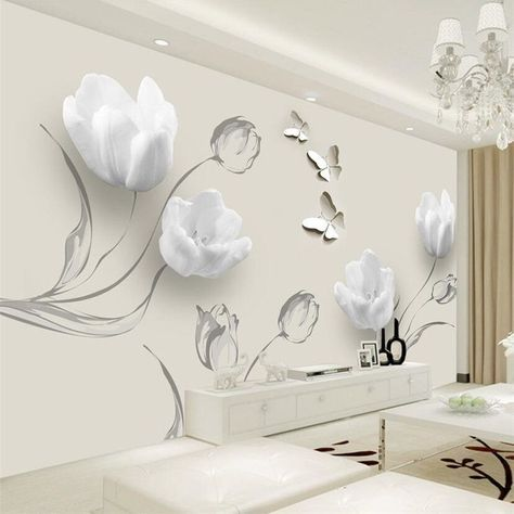 Beibehang Custom Wallpaper 3d Photo Mural Fashion Minimalistic Living Room Bedroom Tulip Butterfly 3d Tv Background Wall Paper Rooms Home Decor 3d Wall Decor Wall Decor