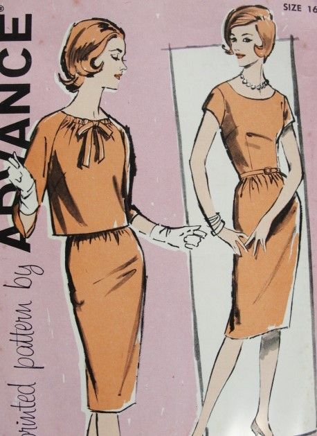 Early 60s Slim Dress and Button Back Jacket Pattern Advance 9888 Perfect Classic Little Dress Day or Evening Bust 36 Vintage Sewing Pattern UNCUT