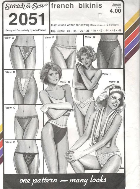 Stretch & Sew 2051 1980s Misses Lingerie Pattern FRENCH