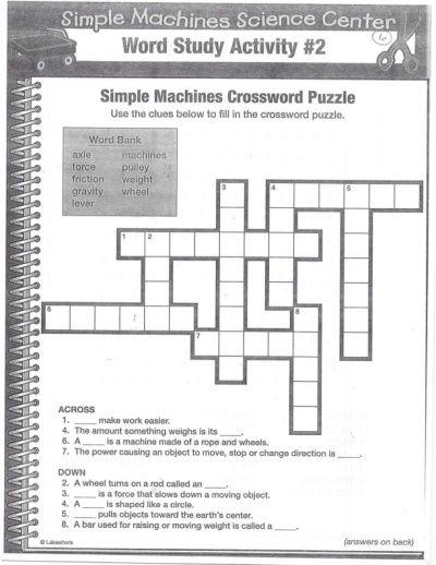 Simple Machines Crossword Puzzle Simple Machines Crossword Crossword Puzzle