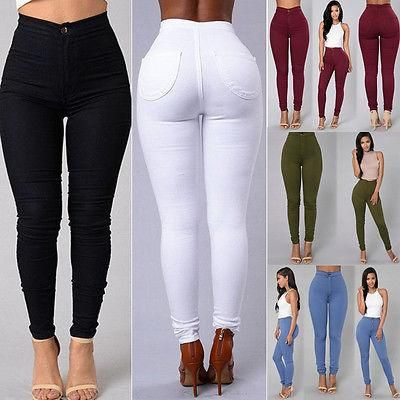 Women Ripped Jeans Denim Pencil Pants High Waist Strech Long Trousers Jeggings S