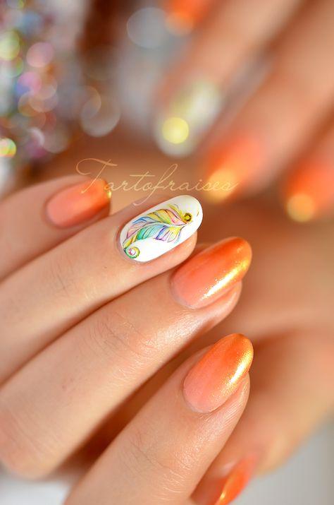 Nail Art Plume Aquarelle Nail Art Plume Vernis A Ongles Ongles