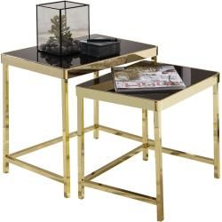 2er Set Beistelltisch Viola Gold Schwarz Sicherheitsglas Roller In 2020 Couchtisch Set Couchtisch Sets Und Beistelltische Set