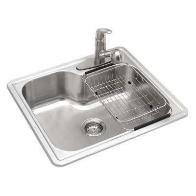 All In One Drop In Stainless Steel 25 In 3 Hole Single Bowl Kitchen Sink Single Bowl Kitchen Sink Single Basin Kitchen Sink Drop In Kitchen Sink