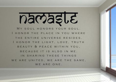 Namaste Wall Decal - My soul honors your soul - Yoga wall decor - Yoga studio decor - Yoga wall mural - Meditation decal - Yoga inspiration
