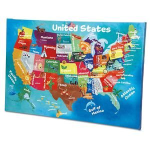USA Map Canvas Print Lillian Vernon Kids Rooms Lillian