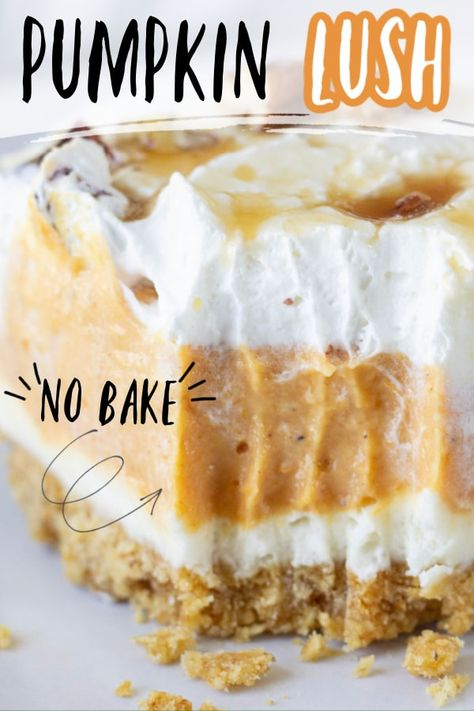 Pumpkin lush is a layered no-bake pumpkin recipe. An easy potluck or holiday pumpkin recipe. This pumpkin spice dessert is calling your name. Graham cracker crust, cheesecake layer, pumpkin spice layer, and topped with whipped cream, nuts, and more. You will love this easy pumpkin dessert. #pumpkin #fall #pumpkinspice #easy #nobake #foracrowd #potluck #dessert