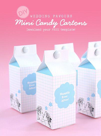 DIY Wedding Favours: Mini Candy Cartons. Free Template!