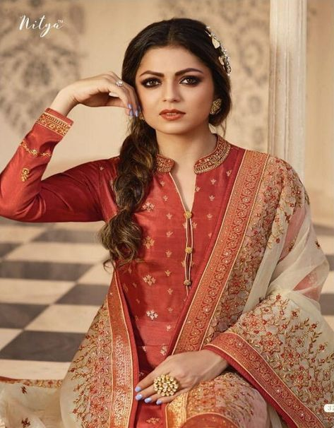 f54c5dd7c6 Vinay Fashions Present Banaras 3 Satin With Embroidery Suit 9874