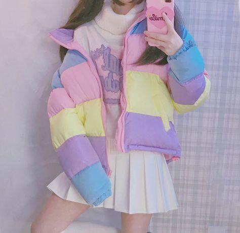 Pastel Colorblock Puffer Jacket