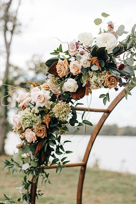 Our round arbor making a statement at this opper-toned Fall Wedding at Upper Shirley Vineyards - *Paisley & Jade - Vintage & Specialty Rentals in Virginia, Washington, DC and North Carolina. Image by Alex Tenser Photography. Fall Wedding Arches, Wedding Arch Flowers, Fall Wedding Decorations, Fall Wedding Colors, Wedding Bouquets, Vintage Wedding Flowers, Aisle Decorations, Vintage Weddings, Wedding Flower Centerpieces