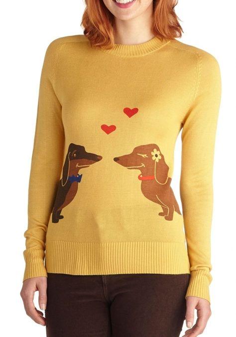 Wiener Takes It All Sweater | Mod Retro Vintage Sweaters | ModCloth.com #Retriever #puppy #Labrador