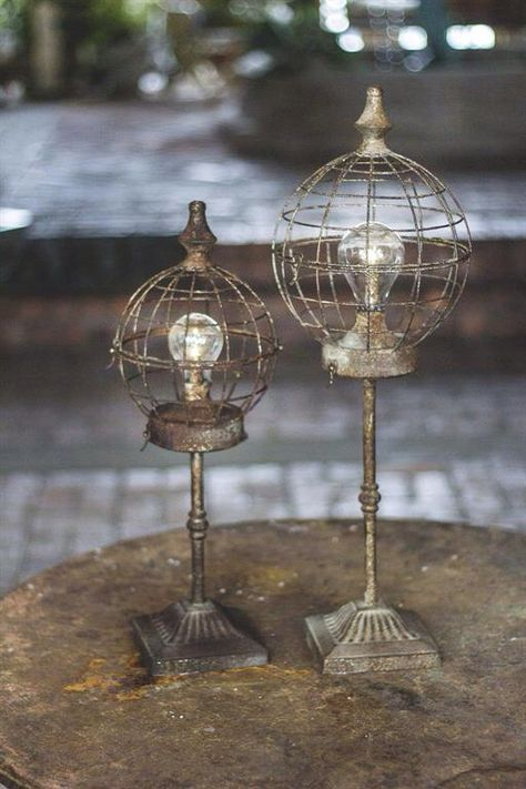 Metal globe LED lanterns.  Battery operated.  Email info@myfrenchfarm.com to purchase.