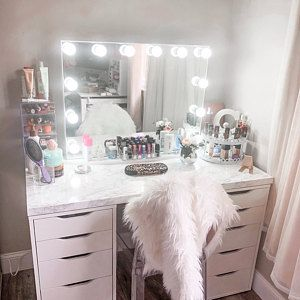 Low shipping & financing Vanity Mirror with lights Vanity Makeup Rooms, Makeup Room Decor, Vanity Room, Beauty Vanity, Ikea Vanity Table, Makeup Vanities, White Vanity Desk Ikea, Make Up Vanity Ikea, Cheap Makeup Vanity