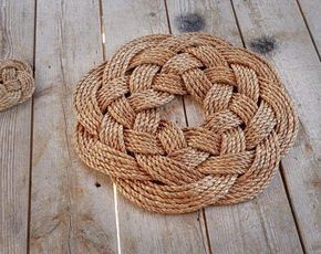 Rope Rug Manila Rope Mat Larger Rope Rug Nautical Decor Etsy In 2020 Rope Crafts Macrame Knots Pattern Rope Rug
