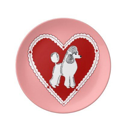 Poodle Love Pink Decorative Porcelain Plate Zazzle Com Poodle Plate Decor Doggie Style