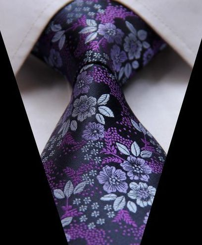 Purple Floral Necktie Floral Necktie Mens Fashion Fall Outfits Ties Mens