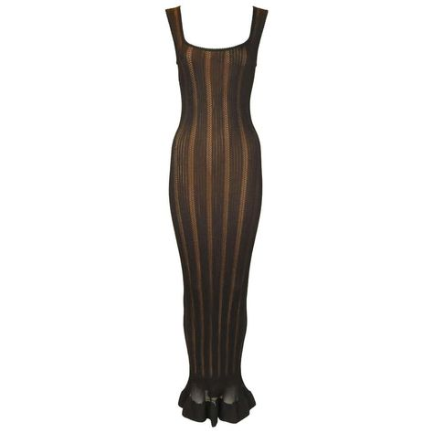 Vintage Alaia Black Knit Jacquard Gown with Nude Slip - Size S For Sale Runway Fashion Outfits, Couture Fashion, Fashion Dresses, Designer Evening Dresses, Black Women Fashion, Womens Fashion, Alaia, Vogue, Black Knit