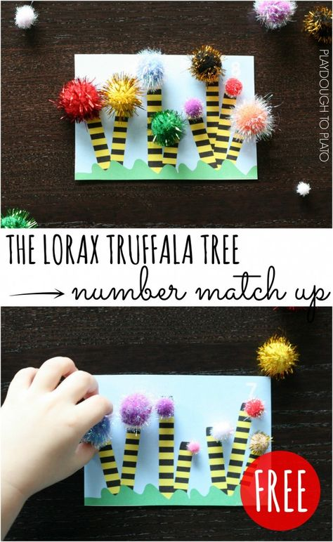 Super fun Lorax truffala tree number match up!! Great for number recognition, counting and fine motor skills.