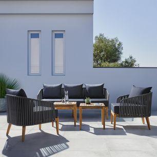 Loungegarnitur Dunkelgrau Akazie Online Bestellen In 2020 Lounge Garnitur Gartenmobel Sets Aussenmobel
