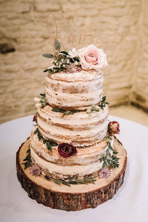 Naked Cake Layer Sponge Semi Flowers Log Stand Wire Love Topper Kingscote Barn W. wedding flowers Naked Cake Layer Sponge Semi Flowers Log Stand Wire Love Topper Kingscote Barn W. Perfect Wedding, Our Wedding, Dream Wedding, Wedding Bride, Wedding Ceremony, Wedding Dresses, Wedding Rings, Fall Wedding Arches, Wedding Wishes