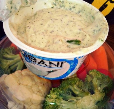 "Guilt Free Dip ~ ""Mixing your ranch seasoning in Chobani Yogurt gives you protein and is around 20 calories for 2 tbs"