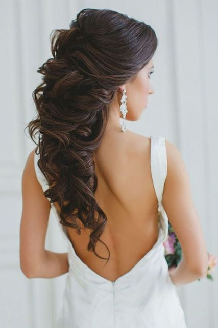 Bridal Hairstyle Inspirations For Dark Hair Long Hair Styles Hair Styles Wedding Hair Down
