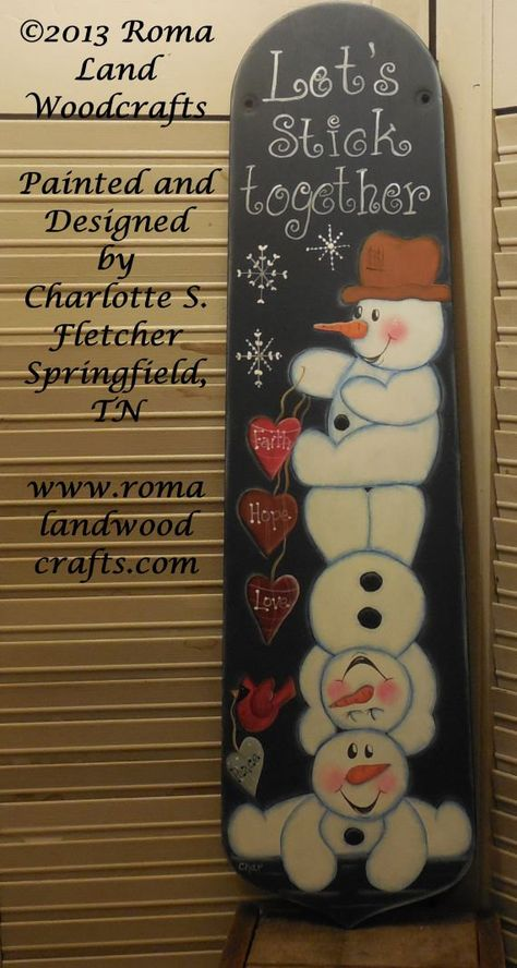 Pattern for Winter Snowman Let's Stick Together Fan Blade OGF FAAP DecoArt Acrylics Christmas Epattern Holiday Love White and Blue