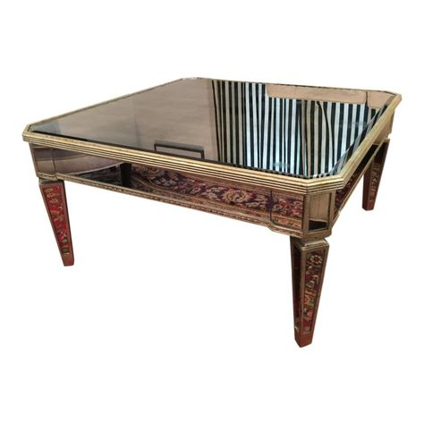 Vintage Horchow Amelie Mirrored Coffee Table Mirrored Coffee