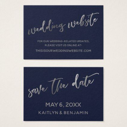 Silver Navy Wedding Website Save The Date Card Zazzle Com Wedding Website Save The Date Cards Save The Date