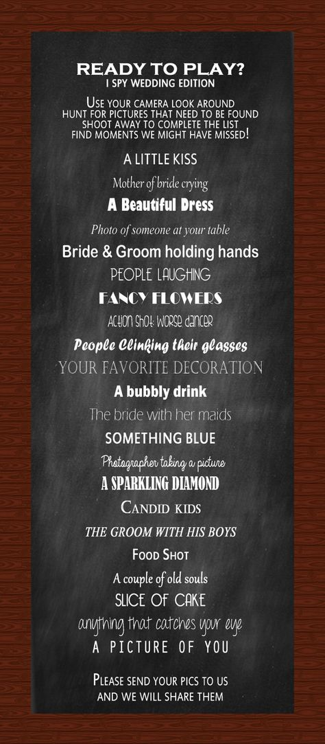 Hey, I found this really awesome Etsy listing at https://www.etsy.com/listing/167321729/i-spy-wedding-reception-game