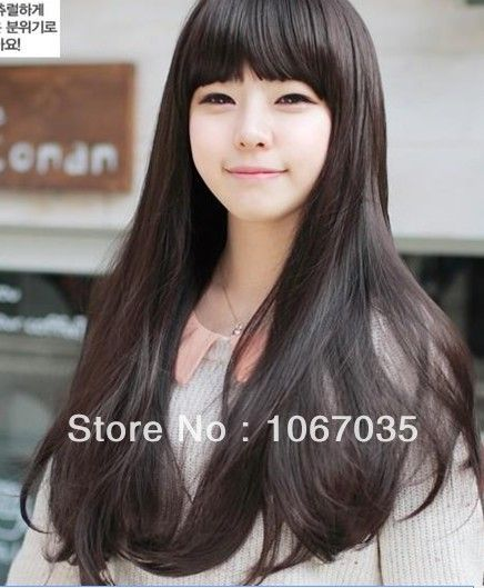 Free Shipping New Repair Face Long Hair Fluffy Girls Fake - Hairstyle for round face asian girl