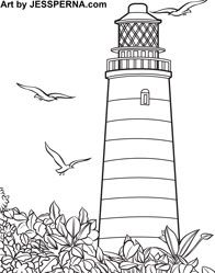 Coastal Lighthouse Coloring Pages For Adults Coloring Pages Paint