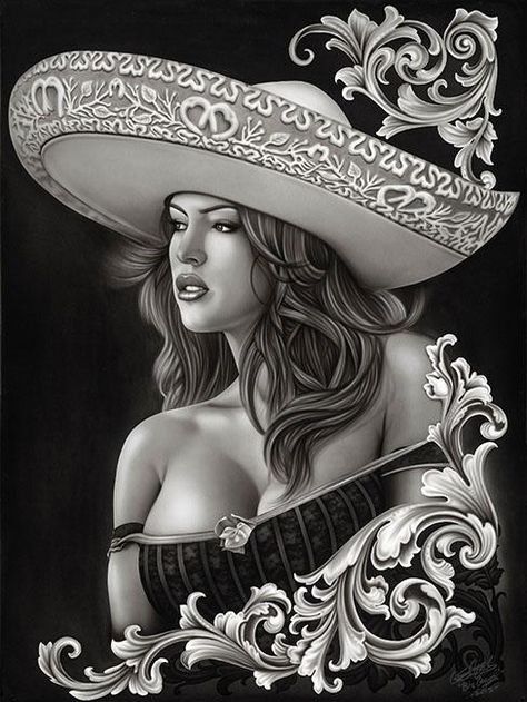 ceeze charra by big ceeze sexy latina woman mexican tattoo giclee art print sexy-latina-woman tattooed-latina-woman sombrero pin-up alternative-artwork Lowrider Art, Tattoo Studio, Arte Cholo, Aztecas Art, Mexican Tattoo, Brown Pride, Latin Women, Monochrom, Art Reproductions