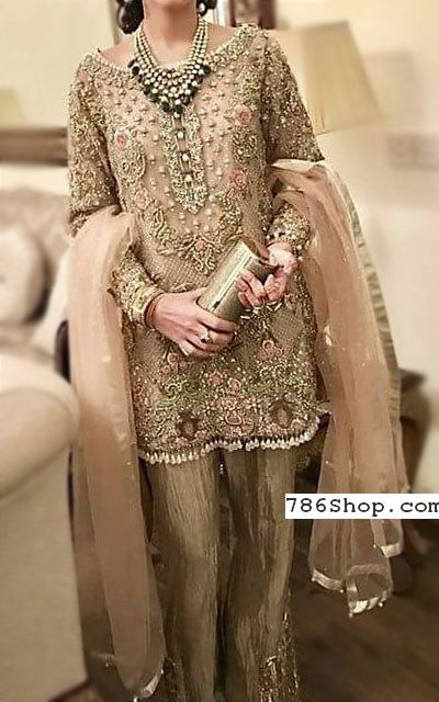 Beige/Peach Chiffon Suit | Buy Pakistani Designer Fashion