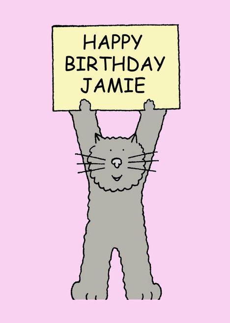 Happy Birthday Jamie Cute Kitten Card Ad Ad Jamie
