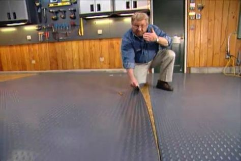 how to insulate and level a garage floor by installing a floating subfloor  of interlocking ready-made panels with a roll-out vinyl covering |  Pinterest ...